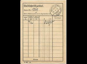 """Bayern 1916, Stpl. """"München Sch A"""" auf Postformular Lastschriftzettel"""