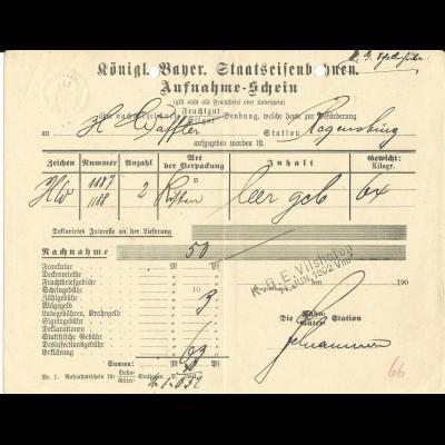Bayern 1902, KGE Vilshofen auf Nachnahme Frachtschein