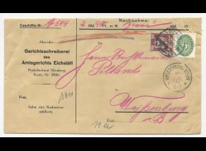 DR 1928, 5+30 Pf. Dienst Mischfrankatur auf Nachnahme Brief v. Eichstätt.