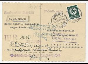 DR 1934, 6 Pf. Dienst auf Karte v. Eichstätt n. Ingolstadt m. diversen Amtsstpln