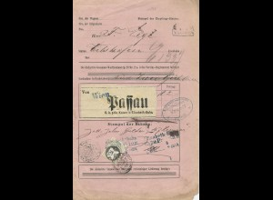Bayern 1874, Passau, Vilshofen, Güter Exped. Stpl. auf Österreich Frachtschein