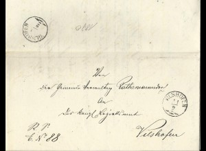 Bayern 1870, Zier-K1 Vilshofen vorder- u. rücks. auf Brief v. Rathsmannsdorf.