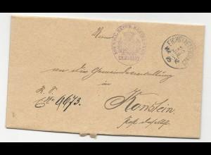 Bayern 1895, K1 Eichstaett (1 Stadt) auf Beziksamt Brief n. Konstein