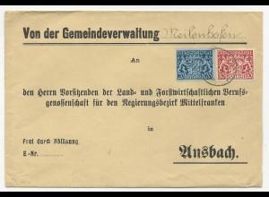Bayern, 10+20 Pf. Dienst auf Brief der Gemeindeverw. Meilenhofen n. Ansbach.