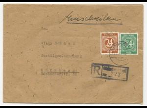1946, 24+84 Pf. auf Brief m. Einschreiben Stpl. v. Eichstätt.