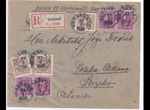 Schweden Czechoslovakia 1908, Sundsvall 35 öre Einschreiben Brief. #1648