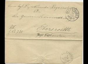 Bayern, Dienst Brief v. Regensburg n. Ebersreuth Post Falkenstein