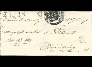 Bayern 1840, Fingerhut Stpl. Koetzting auf Brief m. Amtssiegelstpl. Straubing