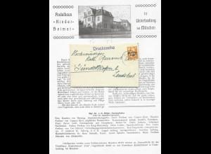 DR 1921, Drucksache Brief v. Ettal, innen Findelhaus Kinderheimat Unterhaching