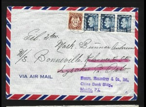 Norwegen Philippinen 1953, Seemanns Nachsende Luftpost Brief v. Horten. #1345