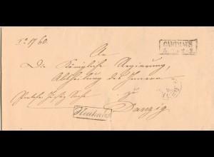 Preussen, R2 CARTHAUS auf Dienst Brief m. Beamtenstempel nach Danzig. #873