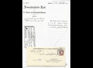 Bayern 1880, Brief v. München n. Parsdorf, innen Postanweisung Aufgabe Schein