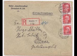 DR 1928, 3er Streifen 15 Pf. Kant, MeF auf Einschreiben Brief v. Dresden. #1071