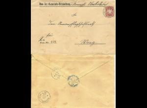 Bayern 1900, 10 Pf. auf Gemeinde Brief m. K2 Oberköllnbach. Rücks. Amtsstpl.