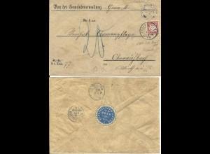 Bayern 1888, 10 Pf. A-Zähnung auf Gemeinde Brief v. Gern, Stpl. Eggenfelden