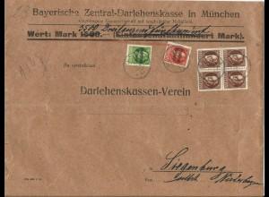 Bayern 1920, 4er-Block 50 Pf.+5+10 Pf. auf Bank Wert Brief v. München.
