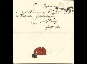 Bayern 1845, L2 München auf gesiegeltem Porto Brief n. Weng Post Aa