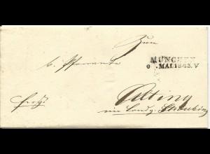 Bayern 1843, L2 MÜNCHEN auf Franco Brief ans Pfarramt Atting b. Straubing.
