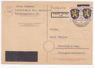 1946, 6 Pf DR Aufbrauchs Ganzsache m. Überdruck u. 6 F. v. Thailfingen. #1674