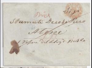 Österreich Griechenland 1849, Teil Franko Brief v. Triest n. Athen. #1018