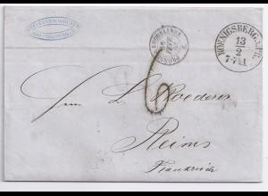 """Preussen Frankreich 1861, klarer K1 Königsberg auf Brief Porto Stempel """"6"""".#154"""