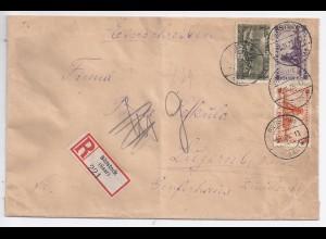 Saargebiet 1923, Einschreiben Brief m. 3 Marken v. Bildstock i.d. Schweiz. #1655