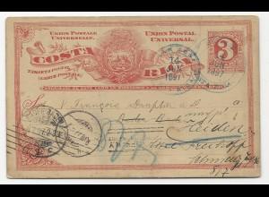 Costa Rica 1897, 3 C. Ganzsache v. Heredia n. Baden Baden u. weiter i.d. Schweiz