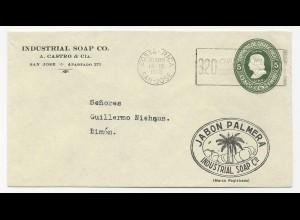 Costa Rica 1938, gebr. 5 C. Ganzsache Brief m. Reklame Zudruck Jabon Palmera