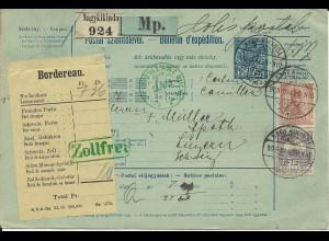 Ungarn 1906, 12 F.+1 Kr. auf 10 F. Paket Ganzsache v. Nagykikinda i.d. Schweiz
