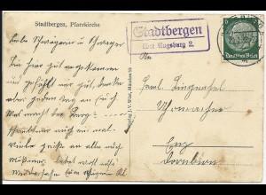 DR 1936, Landpost Stpl. Stadtbergen über Augsburg 2 auf AK m. Kirche