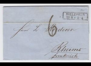 """Preussen 1861, R2 Bielefeld auf Brief m. Frankreich Porto Stempel """"6"""". #2162"""