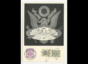 Belgien 1950, Marshall Plan AK u. Sonderstempel. Karte m. 20 C.+2 Aufdruckmarken