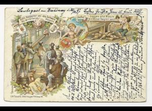 "Kegeln, 1897 v. Laubegast Dresden gebr. Litho AK m. ""alle Neun"""