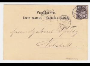 Schweiz 1882, 5 C. Faserpapier auf Karte v. Zürich. #1126