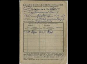 DR 1926, Aufnahmeform. Pr.-Hess. Eisenbahn Gemeinsch. m. Cachetstpl. Königsberg