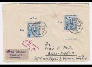 DDR 1952, MeF 2x12 Pf. Fahrrad Friedensfahrt, je Eckrand, Brief v. Leipzig. #766