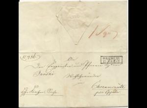 Preussen, R2 Breslau auf Brief m. schönem Papier Prägesiegel.