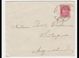 Norwegen 1902, Briefträgerstpl. Kristiania TUR 6 auf Brief n. Aasgardstrand 2363