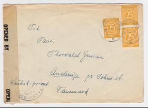 Bizone 1947, MeF 3x25 Pf. auf Zensur Brief v. Schwetzingen n. Dänemark. #1599