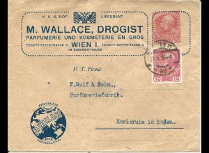 Österreich 1916, 10 H. m. perfins auf 10 H. Parfumerie Privat Ganzsache v. Wien
