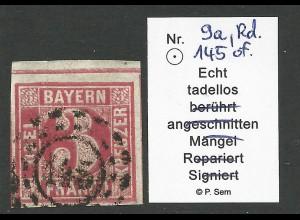 Bayern 9a, Bogenrandstück 3 Kr. m. oMR 145
