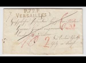 """Frankreich ca. 1825, """"P.72.P. Versailles"""" auf Auslands Brief i.d. Schweiz. #2494"""