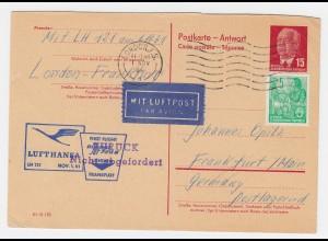 DDR P 65A, 15 Pf. Antwortteil m. 5 Pf. Zusatz, Luftpost -gebr. v. London . #2485