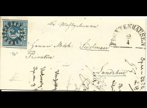 Bayern 1853, MR 96 Frontenhausen auf kl. Brief m. 3 Kr. n. Lamdshut. (Sem + 150)