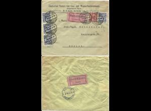 DR 1924, 10+4x20 Pf. auf Eilboten Brief v. Karlsruhe i.d. Schweiz