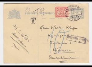 """NL Indien 1932, """"T"""" u. """"Nachgebühr..."""" auf Ganzsache n. Weimar m. 10 Porto #2496"""