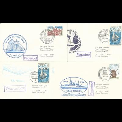 Frankreich, 4 Kiel Paquebot Schiffspost Briefe