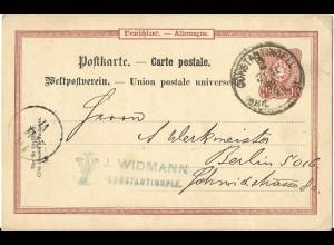 DP Türkei 1888, VP14, 10 Pf. DR Vorläufer Ganzsache v. CONSTANTINOPEL 2
