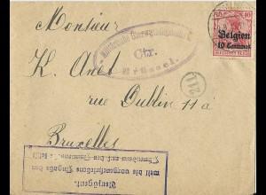 Belgien 1915, 10 C. auf Brief v. Tamines m. Zensur u. VERZÖGERT... Stempel