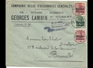 Belgien 1916, 5+2x10 C. auf Brief v. St. Hubert m. Zensur-L3 v. Libramont.